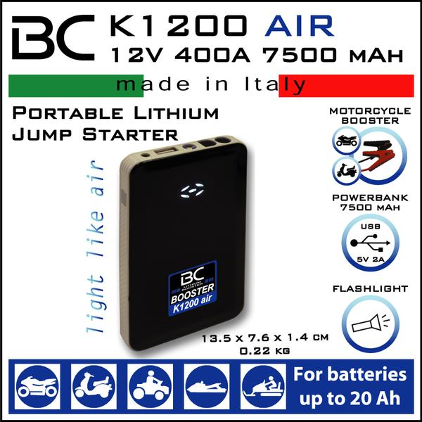 BC Battery Controller BC BOOSTER K1200 AIR Jump Starter & BBC Bike Booster Cable – 80 cm